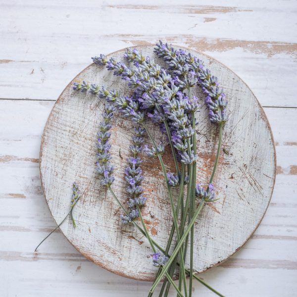 fresh lavender on wooden table